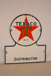 Texaco Single-Sided Porcelain Keyhole Shape Sign