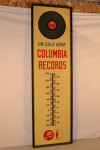 Columbia Records Tin Thermometer In Wood Frame