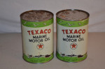 Texaco Marine Motor Oil Round Metal Cans