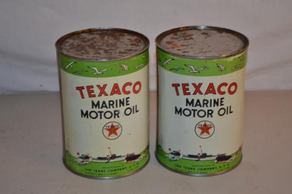 Texaco Marine Motor Oil Round Metal Cans Antique