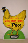Kraft Chicken Single-Sided Tin Embossed Diecut Sign